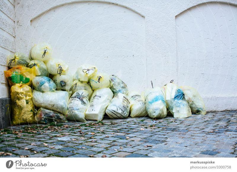 Yellow bag of garbage Lifestyle Shopping Luxury Living or residing Flat (apartment) Trash Garbage bag Refuse disposal Waste management Dustman Recycling bag