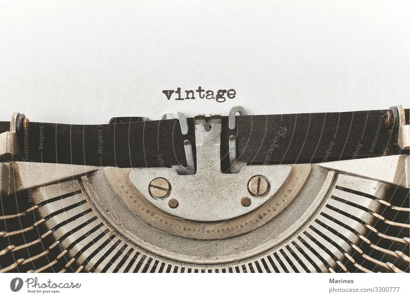 vintage typed words on a vintage typewriter Design Happy Workplace Office Business Machinery Paper Metal Retro Black White Idea Typewriter Communication Word