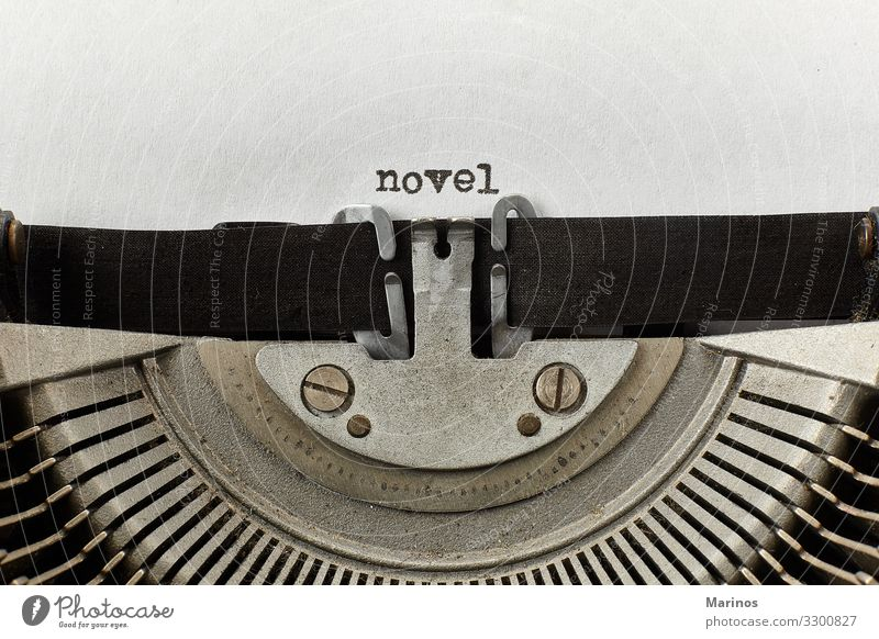 novel typed words on a vintage typewriter Design Happy Business Machinery Paper Metal Retro White Idea Typewriter Communication Word Text Writer