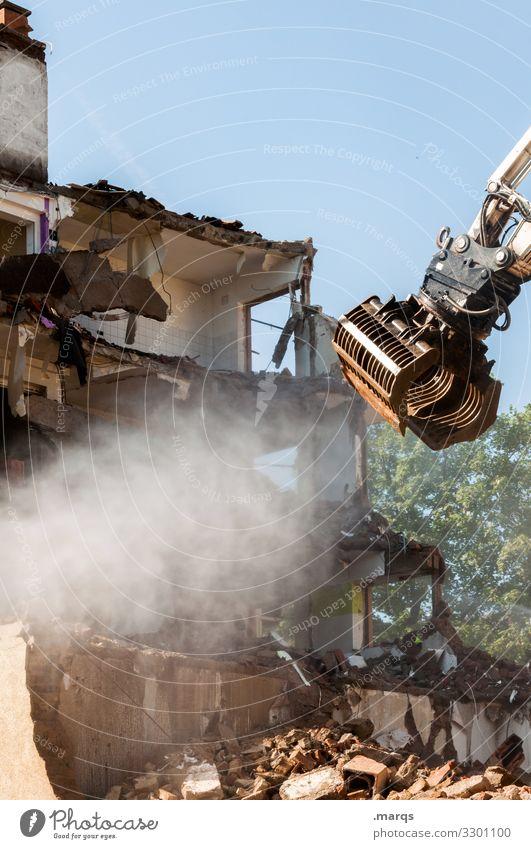 Deconstruction Dismantling Construction site built Ruin Building rubble Wall (barrier) Wall (building) Force outline Excavator Machinery Sky Change Decline
