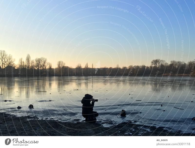 At the lake Camera Woman Adults 1 Human being Environment Nature Landscape Water Sky Autumn Winter Beautiful weather Ice Frost Lakeside River bank Looking Blue