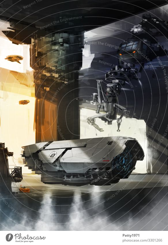 Maintenance Technology Advancement Future High-tech Astronautics Robot Airport Hangar Spacecraft Flying Science Fiction Futurism Illustration Colour photo