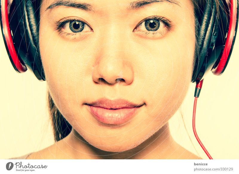 Asian Sounds Woman Human being Head Headphones Music Looking into the camera Girl Disc jockey Chinese Asians Laughter Smiling Portrait photograph Disco