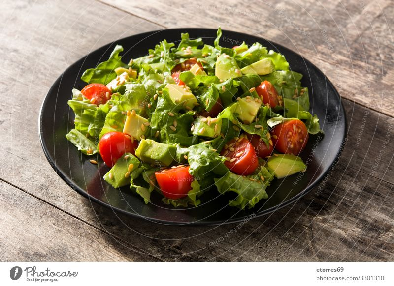 Salad with avocado, lettuce, tomato and flax seeds Avocado Cherry Detox Diet Flax Food Healthy Eating Food photograph Fresh Gourmet Green Lettuce Mixed