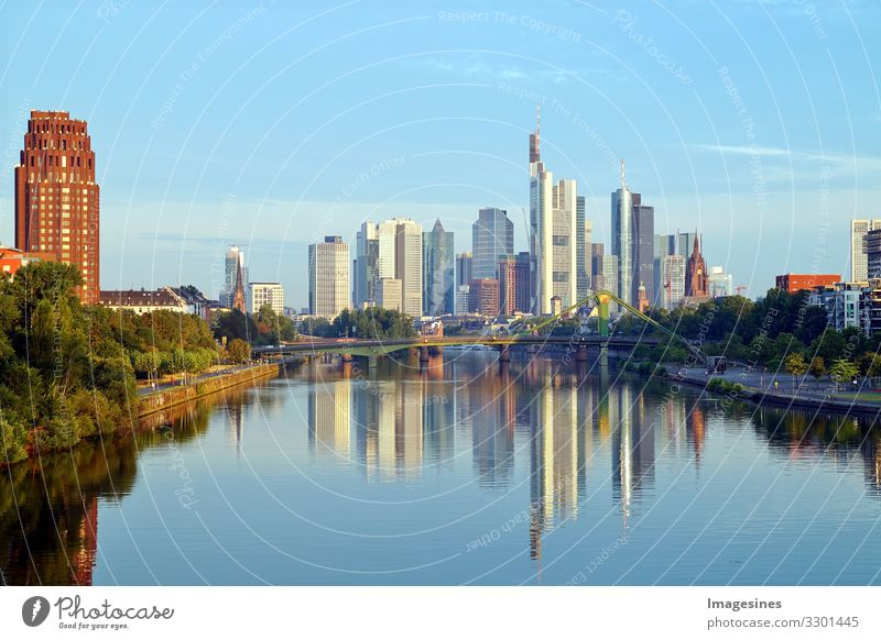"Frankfurt Skyline Landscape River Main Germany Europe Town Downtown High-rise Bank building Bridge Building Landmark Financial Industry ""architecture Bench"