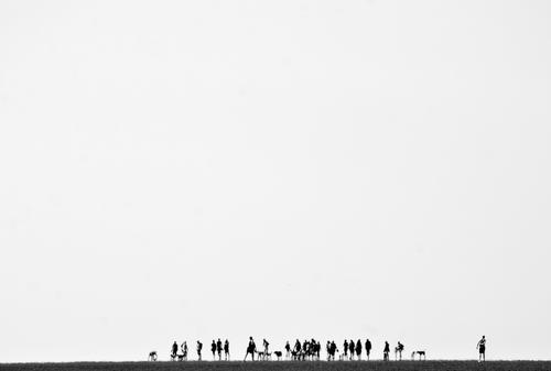 flickering crowd in the distance at low tide in the Wadden Sea Hiking Trip Beach Ocean Walk along the tideland Mud flats Human being Crowd of people Landscape