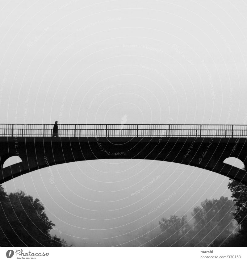 grey in grey Human being 1 Landscape Climate Bad weather Fog Town Bridge Emotions Bridge railing Bridge building Gloomy Going Gray Black & white photo