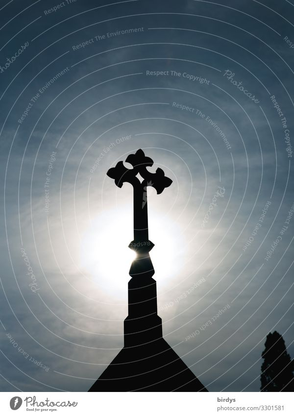 Glorification Sky Cloudless sky Sunlight Stone Sign Crucifix Illuminate Esthetic Authentic Historic Tall Uniqueness Blue Black White Honor Hope Belief Grief