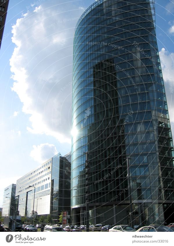 In the mirror of time High-rise Glas facade Potsdamer Platz Mirror surface Clouds Architecture Berlin Modern Sky db Reflection