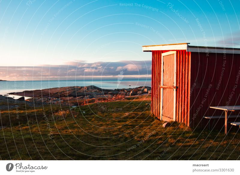 Swedish coast Sweden Coast Scandinavia Dusk Evening sun Ocean Water Stone Hut Wooden hut Sky House (Residential Structure) Landscape Nature Manmade structures