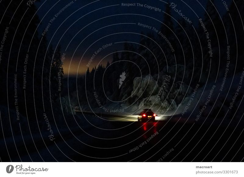 night ride Night journey Motoring Scandinavia mountain pass mountain passes Winding road Dark Sunset Floodlight Car headlights Snow Snowfall lightning snow
