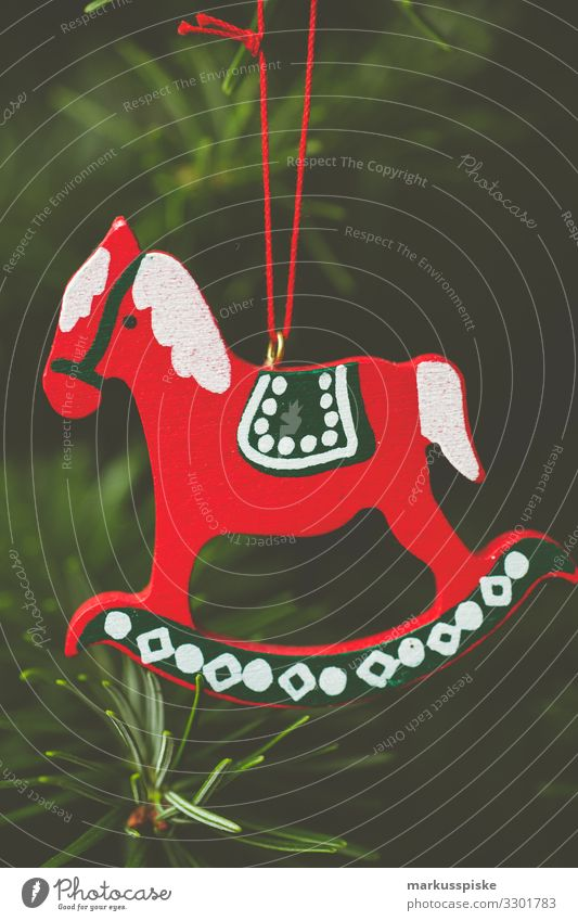 Christmas tree decoration wooden rocking horse Lifestyle Luxury Living or residing Flat (apartment) Living room Feasts & Celebrations Christmas & Advent