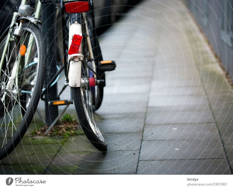 curvy round Town Transport Means of transport Traffic infrastructure Sidewalk Bicycle Wait Authentic Broken Sadness Aggravation Frustration Society Mobility
