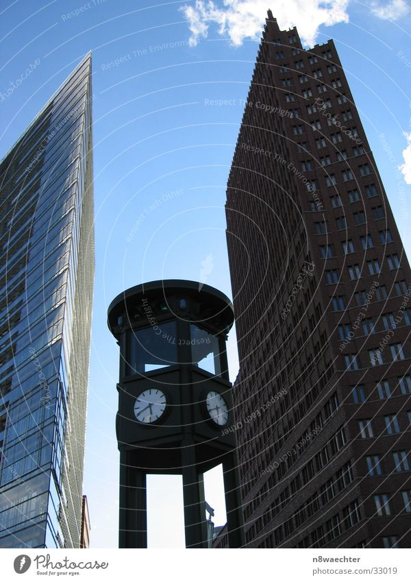 Past and present Potsdamer Platz Clock Historic High-rise Architecture Berlin canyon Sky Blue aberrant lines Contrast