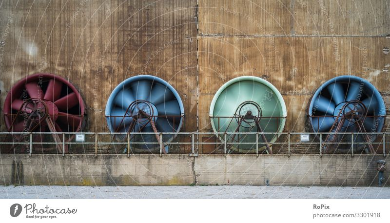 Cooling fans on a industrial facility. Vacation & Travel Tourism Sightseeing City trip Science & Research Work and employment Profession Workplace Factory