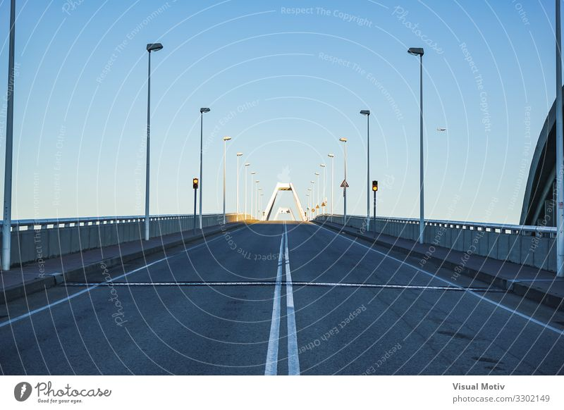 Afternoon lights on the end of an empty bridge Town Bridge Manmade structures Architecture Lanes & trails Overpass Concrete Metal Steel Esthetic Authentic