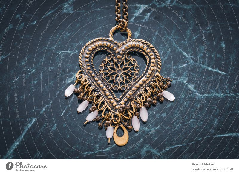 Ethnic boho style heart pendant with white beads Art Work of art Accessory Jewellery Necklace Pendant Collection Collector's item Metal Ornament Heart Love