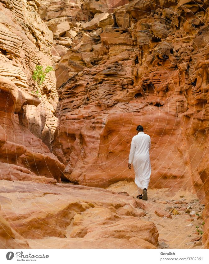 man in white arab clothing walks in a colored canyon in Egypt Human being Vacation & Travel Nature Man Summer Colour White Landscape Mountain Adults Warmth