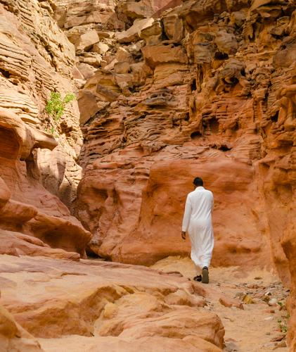 man in white arab clothing walks in a colored canyon in Egypt Exotic Vacation & Travel Tourism Summer Mountain Human being Man Adults Nature Landscape Warmth