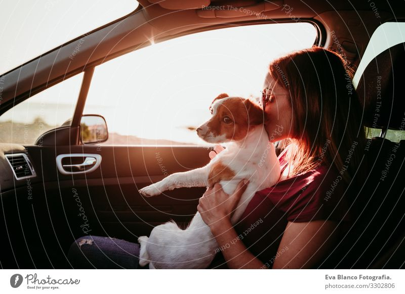 young woman and her cute dog in a car at sunset. travel concept Woman Dog Car Sunset Vacation & Travel Tourism Together Love Embrace Landscape Beach