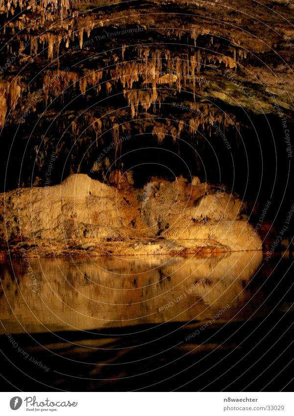 Spring Grotto 2 Cave Reflection Dark Stalactite Underground Uniqueness Beautiful Thuringia Water stalagnites stalactites hall field
