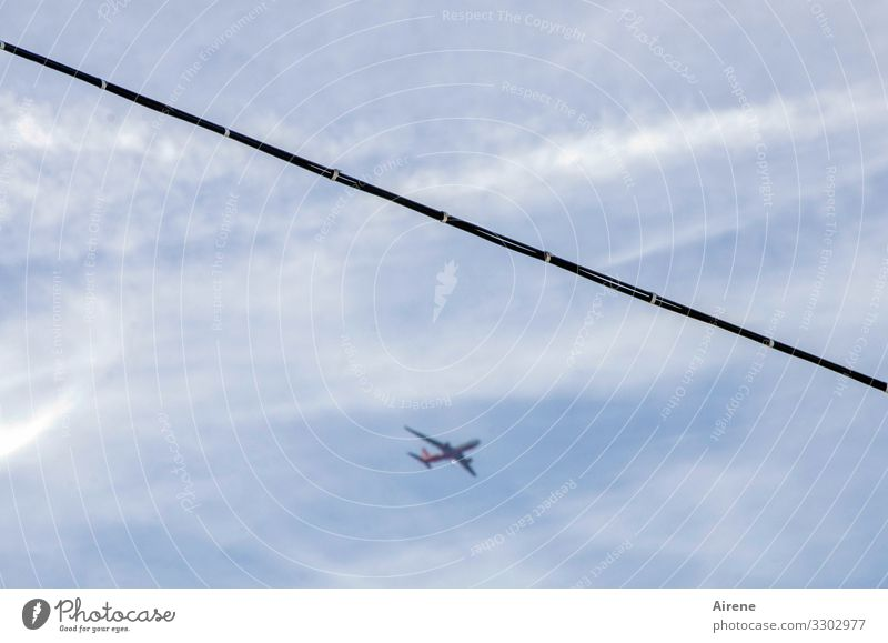 lots of action in the sky Sky Clouds Beautiful weather Flying Hang Blue White Air Airy Aviation Airplane Steel cable Tense Across Rope Far-off places Polluter