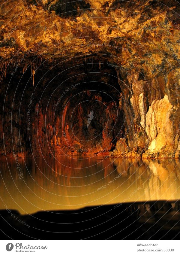 Spring Grotto 1 Cave Reflection Dark Stalactite Underground Uniqueness Beautiful Thuringia Water stalagnites stalactites hall field