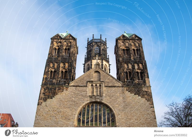 prominent spires Worm's-eye view Silhouette Neutral Background Eternity Symmetry Vintage Old Christianity Blue Brown Blue sky Ambitious Medieval times