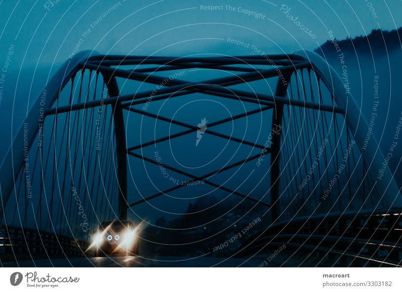 bridge Bridge Night Evening Rain Metal Architecture Car Floodlight Car headlights Light Blue Morning Fog Lighting Illuminate Lamp Blur