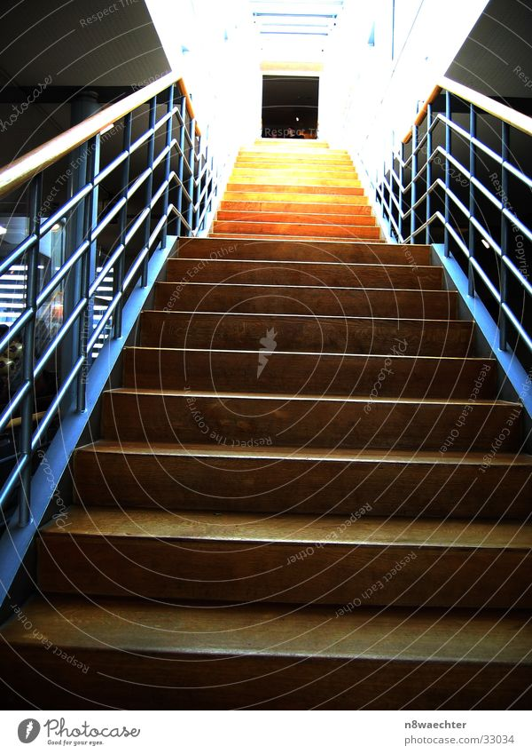 Stairs of enlightenment Light Far-off places Infinity Brown Yellow Architecture Upward Handrail Lighting Level Perspective Hollow Door Tall Blue