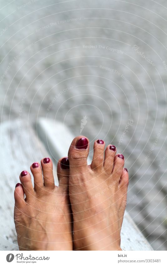 Skin thing l sunbath for the feet... Human being Feminine Woman Adults Youth (Young adults) Beautiful Naked Feet Feet up Barefoot Nail polish Cobblestones