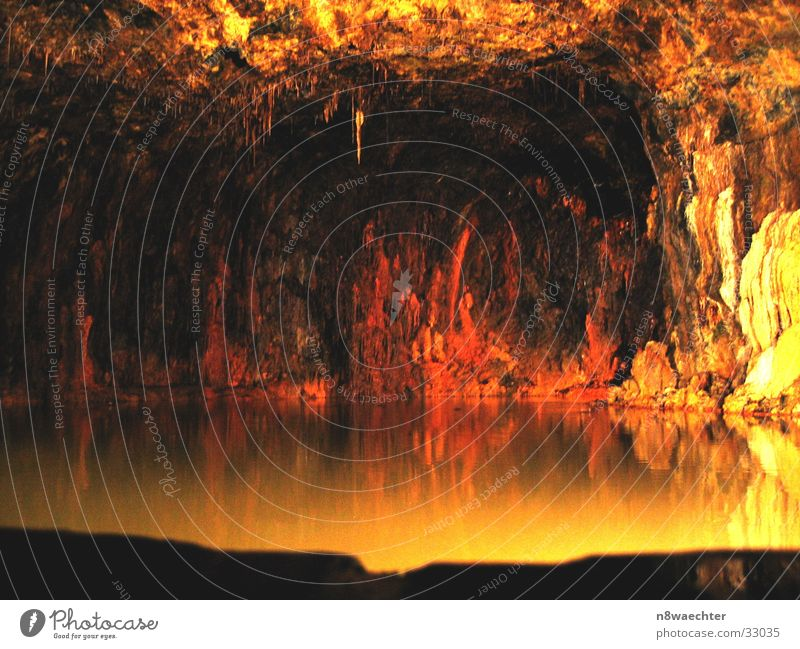 Spring Grotto 3 Cave Reflection Dark Stalactite Underground Uniqueness Beautiful Thuringia Yellow Red Water stalagnites stalactites hall field alum