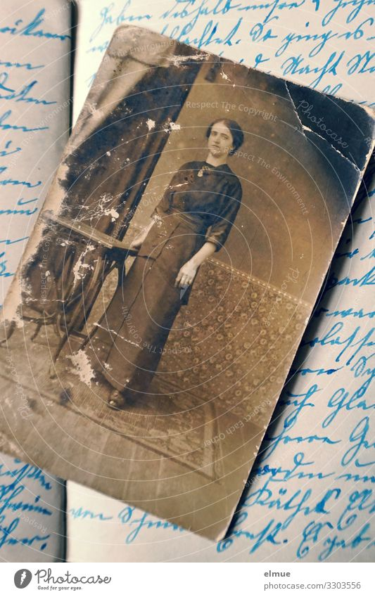 from the diary Diary Photography paper image Analog Text Old German Sütterlin Historic Retro Emotions Romance Pain Nostalgia Past Transience Lose Change Image