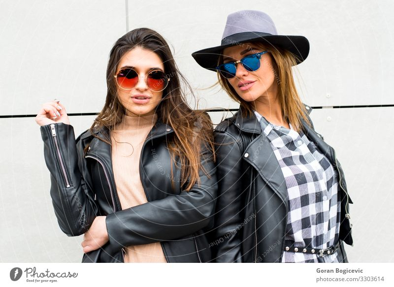 Two young modern girls on the street Lifestyle Style Beautiful Human being Feminine Young woman Youth (Young adults) Woman Adults Friendship 2 18 - 30 years