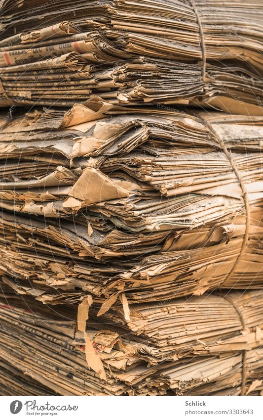 Data Museum archive Print media Old Brown Gray Decline Past Transience Time newspapers Stack piles of newspapers ancient Bundle Corner Dust dirt frowzy Yellowed