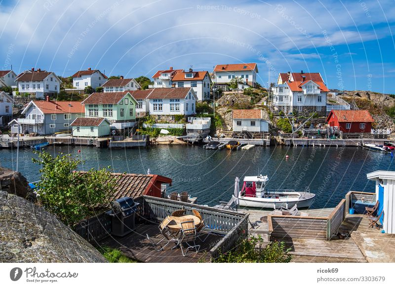 View of the village Gullholmen in Sweden Relaxation Vacation & Travel Tourism Summer Ocean House (Residential Structure) Nature Landscape Water Clouds Coast