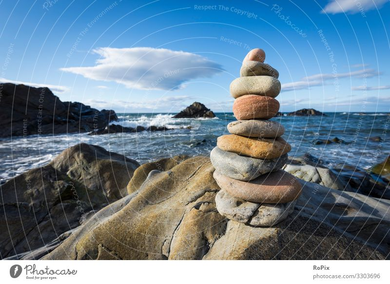 Stacked stones on the scottish coast. Vacation & Travel Nature Summer Water Landscape Relaxation Beach Life Environment Coast Tourism Freedom