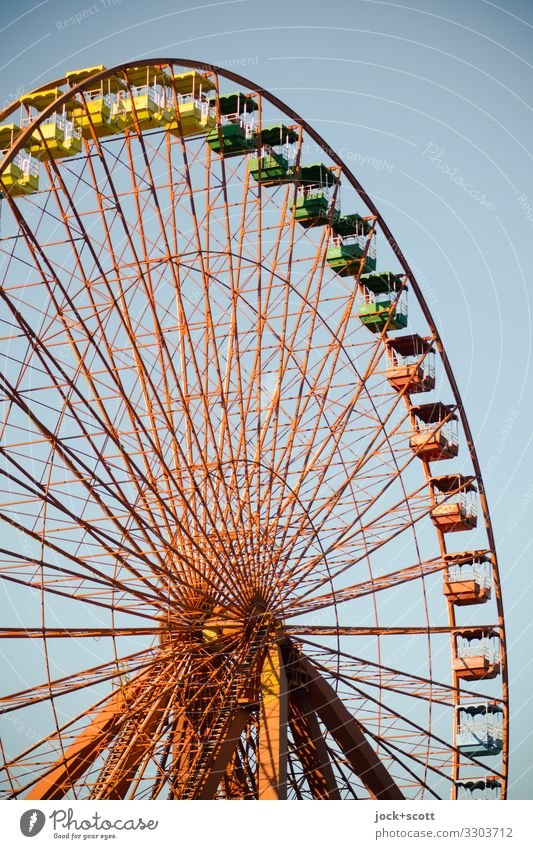 observation wheel Warmth Line Authentic Cloudless sky Ferris wheel Treptow Treptow Park