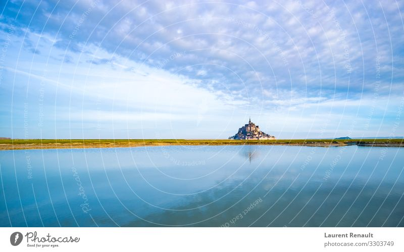 Mont-Saint-Michel at dawn Vacation & Travel Tourism Ocean Island Landscape Monument Blue France bay bretagne Brittany Europe famous french landmark michel mont