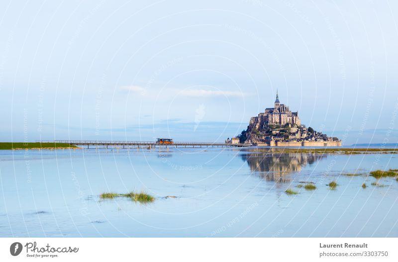 Mont-Saint-Michel in morning light Vacation & Travel Tourism Ocean Island Landscape Church Castle Bridge Architecture Monument Blue France Monastery bretagne