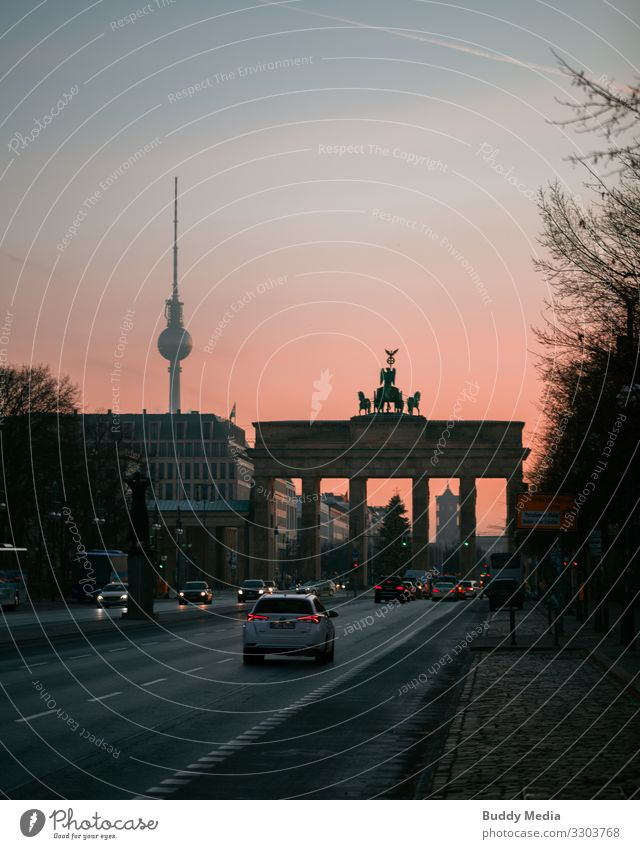 Brandenburg Gate in the morning glow, Berlin Sky Cloudless sky Sunrise Sunset Sunlight Spring Winter Beautiful weather Germany Capital city Downtown Old town