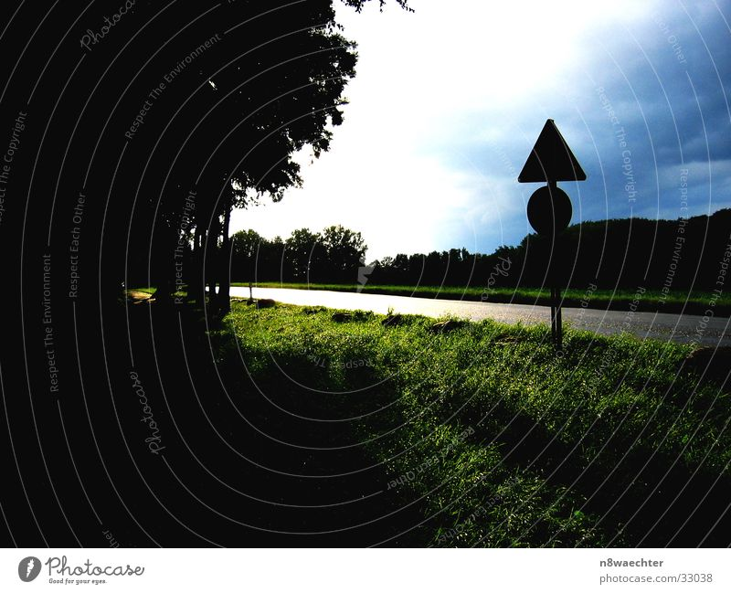 Sky Sun Green Blue Clouds Street Dark Meadow Bright Glittering Threat Storm Road sign Edge of the forest