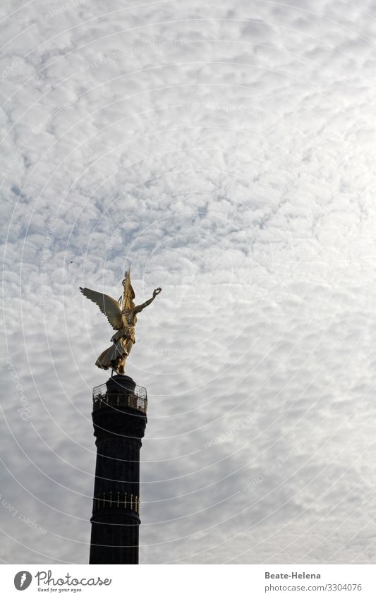 Lift off l So close to heaven Art Sky Clouds Berlin Berlin zoo Capital city Downtown Tourist Attraction Landmark Angel Sign Select Discover Flying Glittering