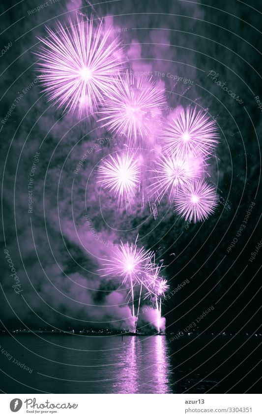 Luxury fireworks event sky water sea show with pink stars Night life Entertainment Party Event Feasts & Celebrations New Year's Eve Fairs & Carnivals Art Shows