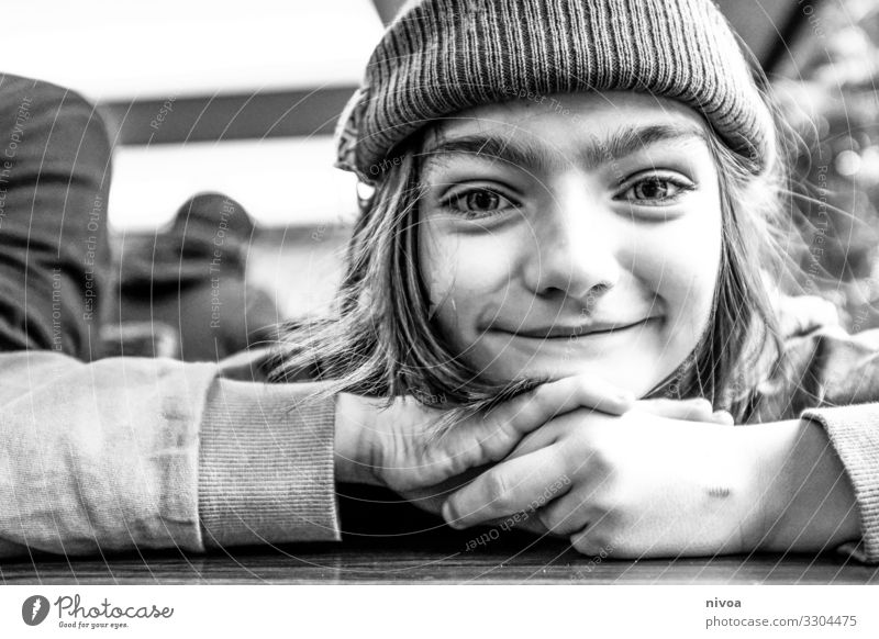 black white portrait of a boy Boy (child) cap Black & white photo smile 1 Human being Day Face already natural Happiness Exterior shot luck Long-haired Joy