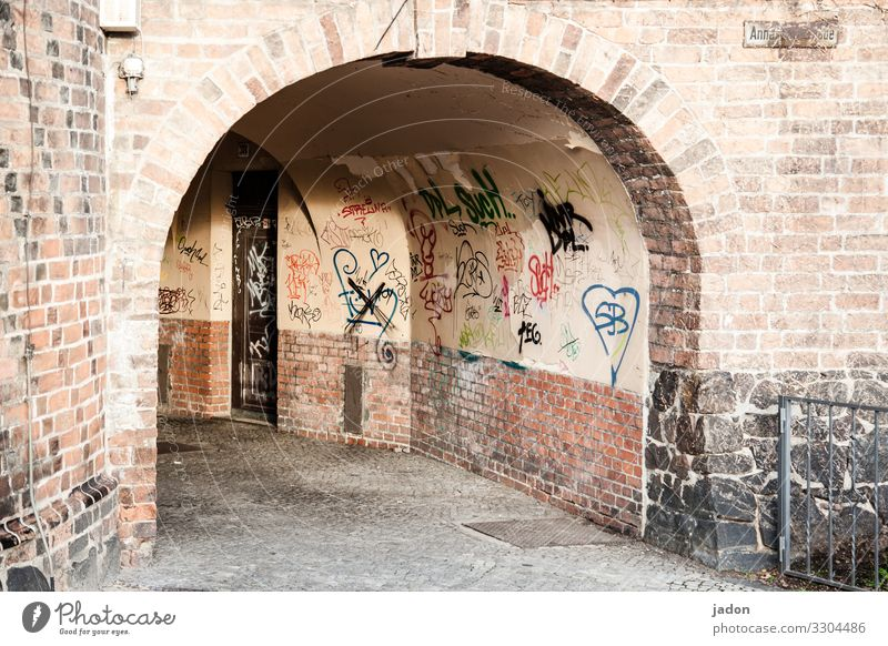 tunnel vision. Style Media industry Art Brandenburg an der Havel Town Downtown Deserted House (Residential Structure) Tunnel Building Wall (barrier)