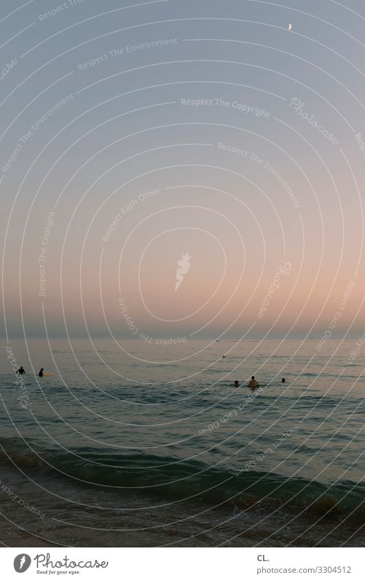 Evening at the sea Swimming & Bathing Human being Group Environment Nature Elements Water Sky Cloudless sky Moon Summer Beautiful weather Waves Coast Ocean