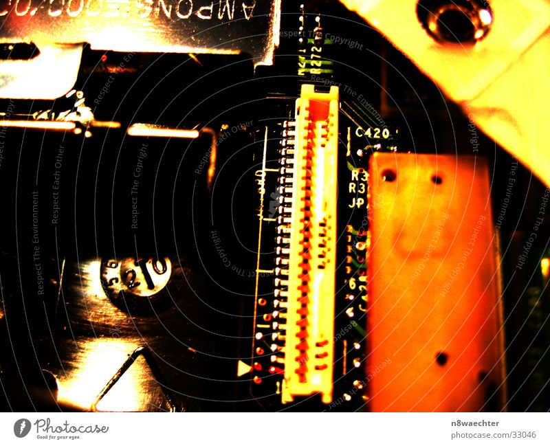 Red Yellow Technology Contact Computer Electronics Lettering Circuit board Electrical equipment Motherboard