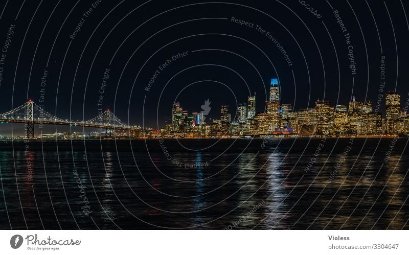 San Francisco Skyline High-rise Bridge Architecture Tourist Attraction Discover Vacation & Travel Dark Light (Natural Phenomenon) Night shot Lighting