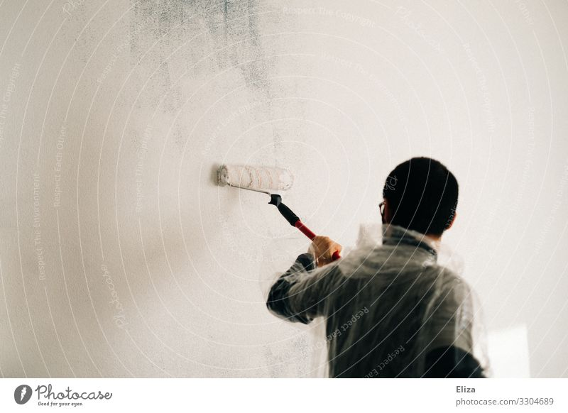 A man paints a wall with a paint roller in white color Painting (action, work) color roll White Redecorate Colour Painter Extract Wall (building) Paintwork